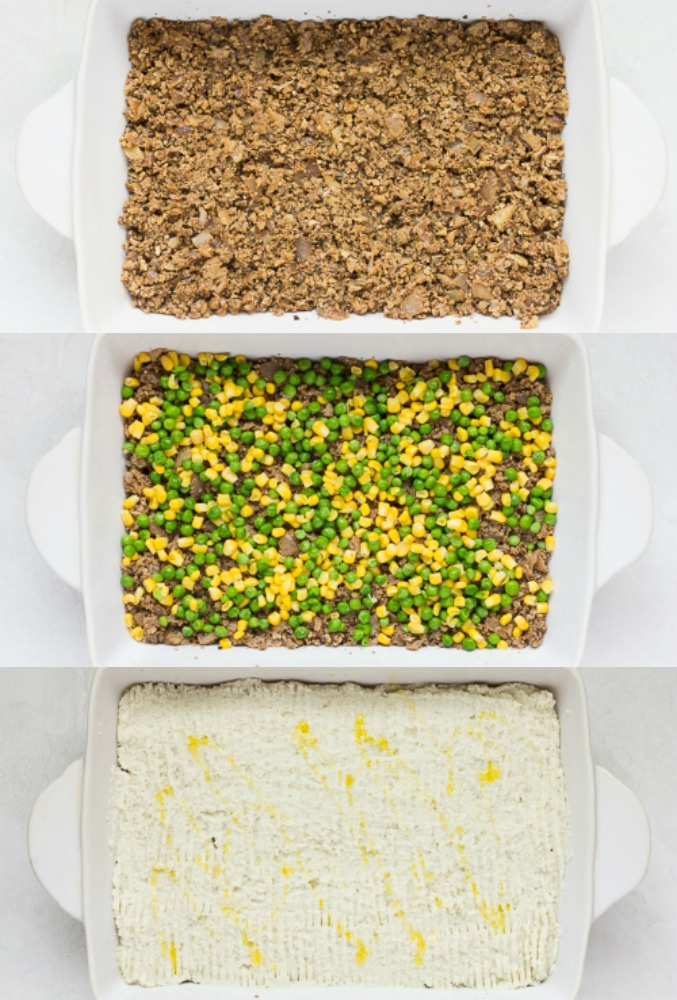 "collage showing vegan shepherd's pie being layered with ""meat"", veggies then potatoes."