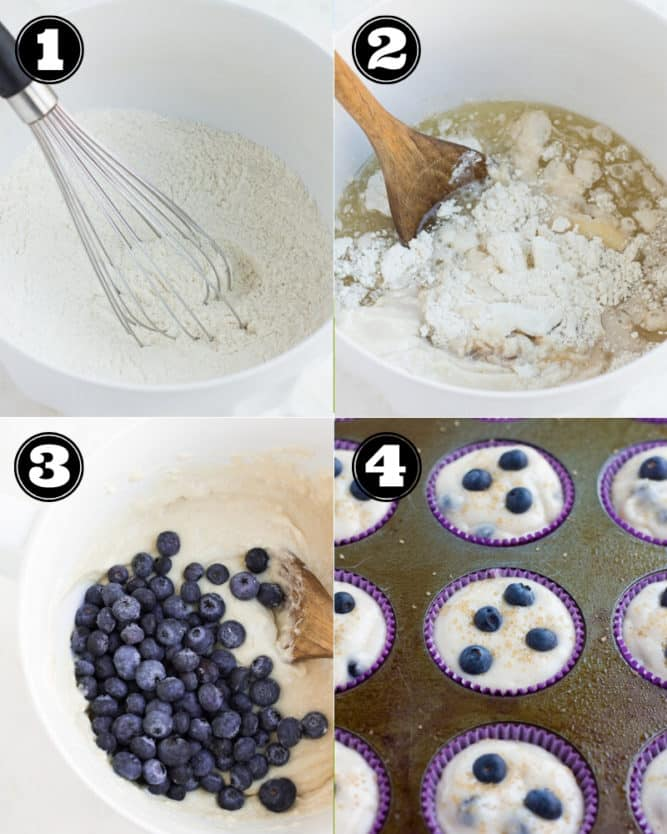 collage of how to make vegan blueberry muffins