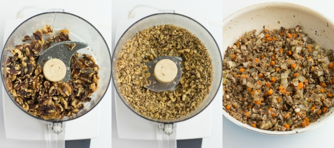 collage of walnuts processed for lentil loaf