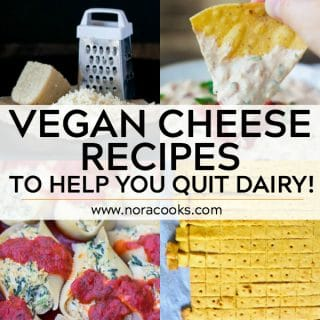 vegan cheese collage with text: vegan cheese recipes to help you quit dairy!