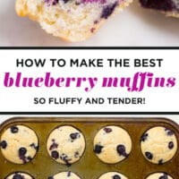Pinterest collage with text of blueberry muffins, vegan
