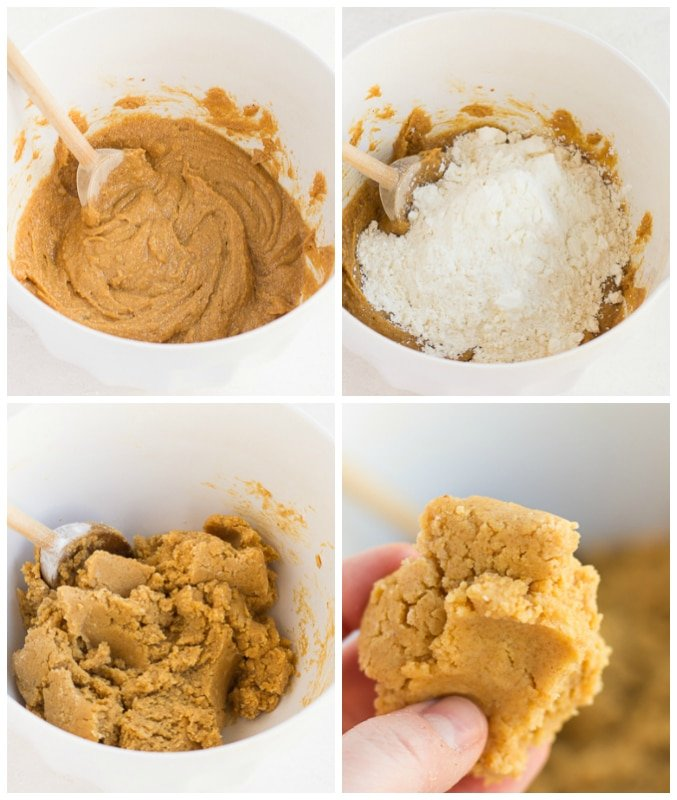 collage of how to make vegan peanut butter cookies in a bowl.