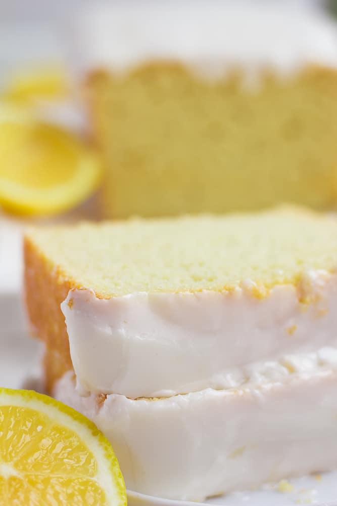 close up of sliced lemon loaf
