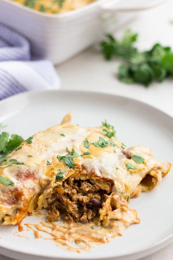 vegan enchiladas, showing plant meat inside