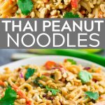 pinterest image with text in middle of peanut noodles.