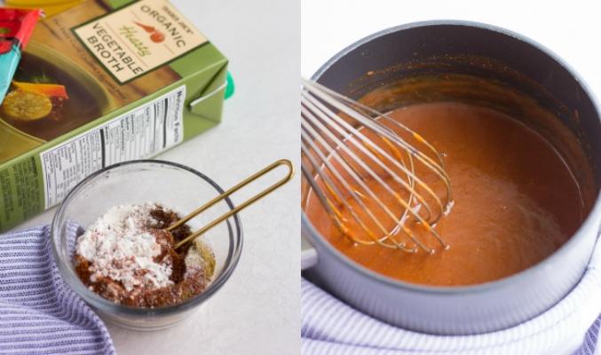 making vegan enchilada sauce collage
