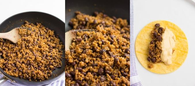 collage of making vegan plant meat for vegan enchiladas