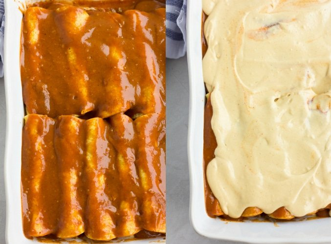 vegan enchiladas covered in sauce, then cheese sauce