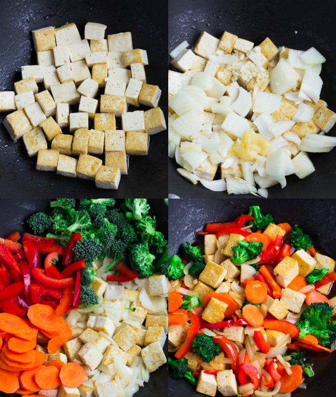 collage of how to make tofu stir fry