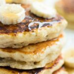 square image of close up of pancakes
