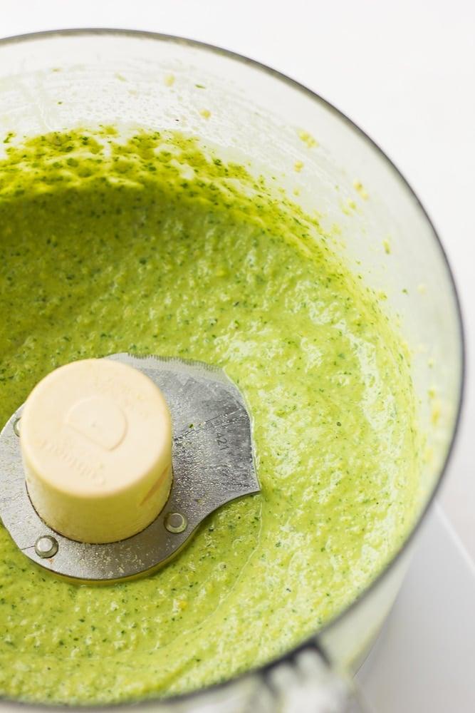 blended pesto in food processor