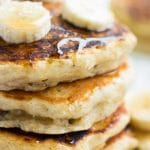 from the side photo of vegan banana pancakes.