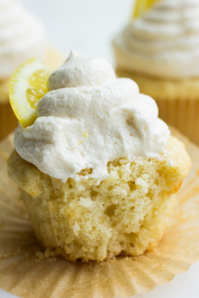 bite taken out of vegan lemon cupcake