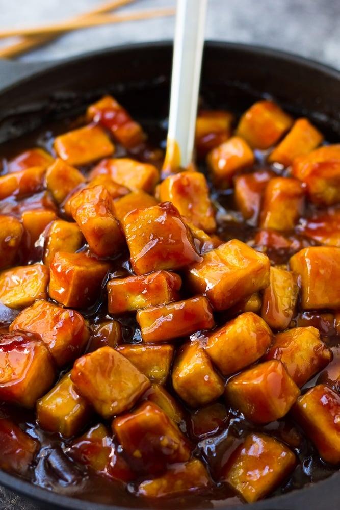 pan full of sriracha tofu