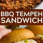 pinterest collage of bbq tempeh sandwiches