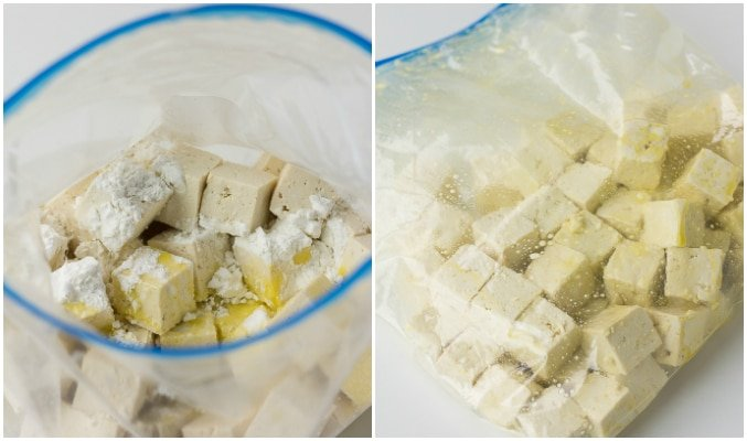collage showing how to shake tofu in large bag with ingredients to make it bake crispy.