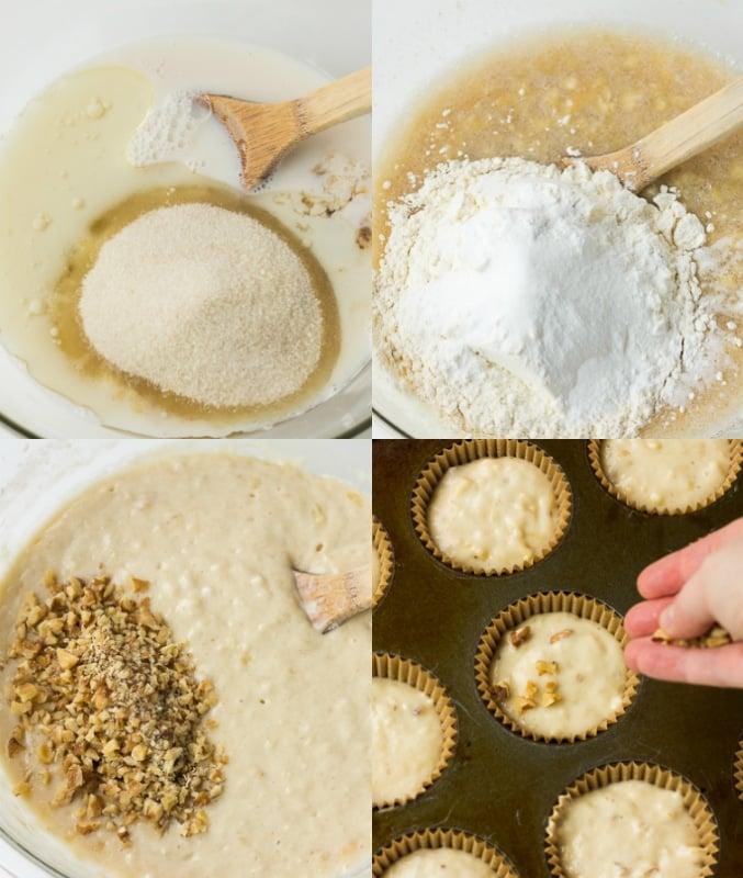 collage of how to make vegan banana muffins.