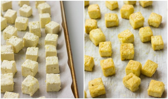 collage showing how to bake crispy tofu.