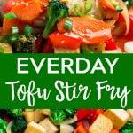Pinterest collage of tofu stir fry.
