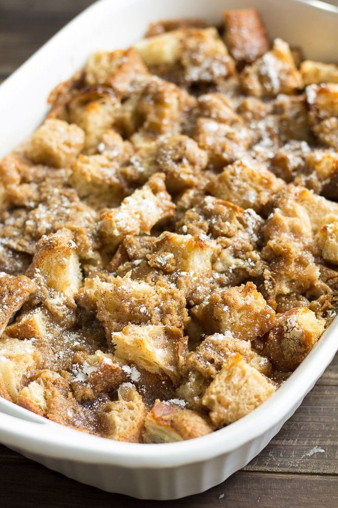 casserole dish full of vegan french toast casserole