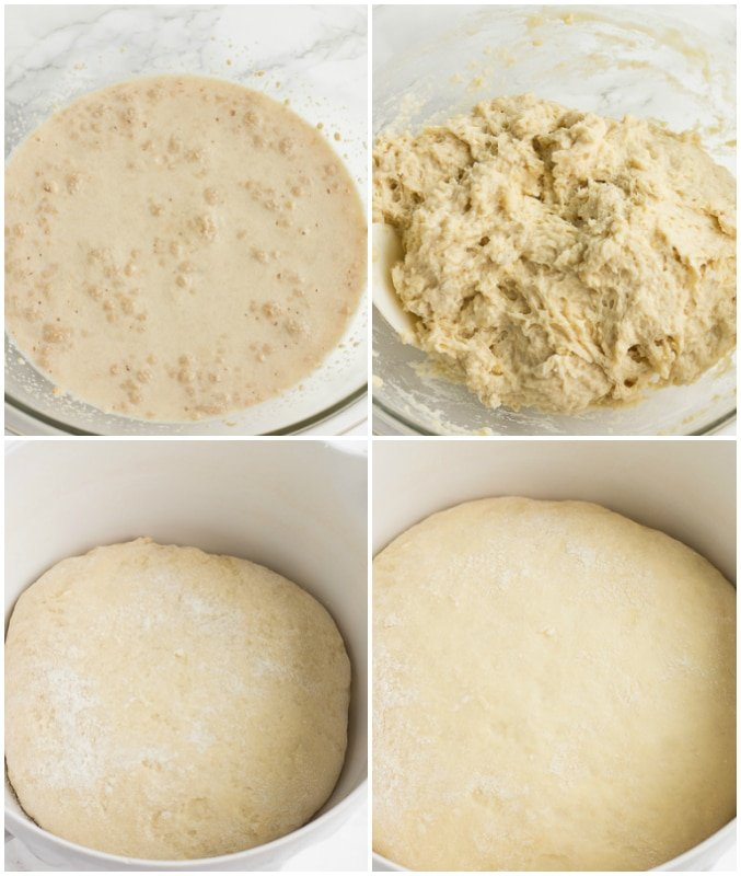 collage of how to make vegan cinnamon roll dough