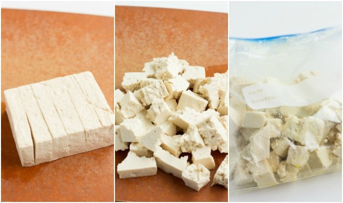 collage showing how to cut and rip tofu for vegan butter chicken.