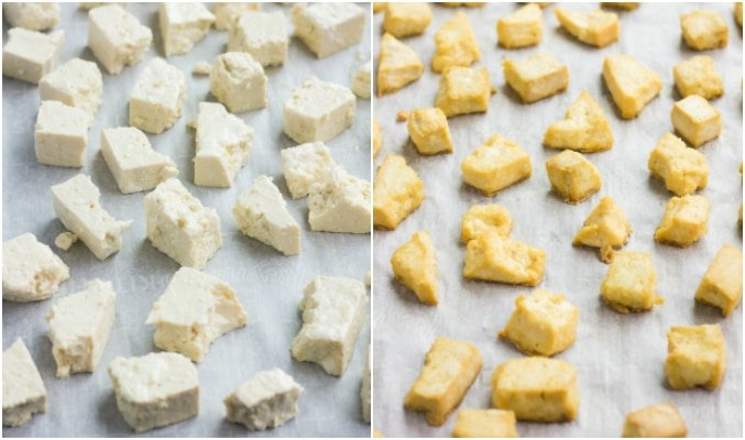 collage of baking tofu pieces, before and after on baking sheet.