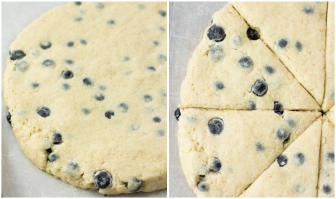 collage showing how to make vegan blueberry scones