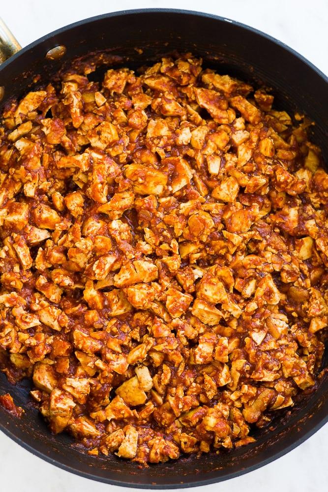 mixed up sofritas in a pan.