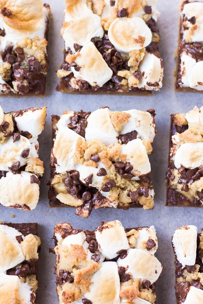smores bars in neat rows.