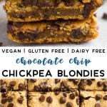 Pinterest image of chickpea blondies with text.