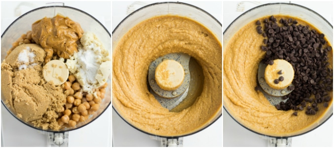 collage of making chickpea blondie dough in food processor