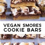 pinterest collage of vegan smores bars.