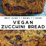 Pinterest collage of vegan zucchini bread with text.