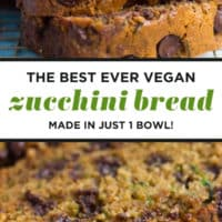 pinterest collage with text of zucchini bread, vegan