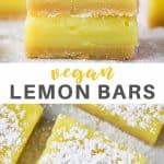 Pinterest collage of vegan lemon bars