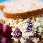 sandwich filled with chicken salad