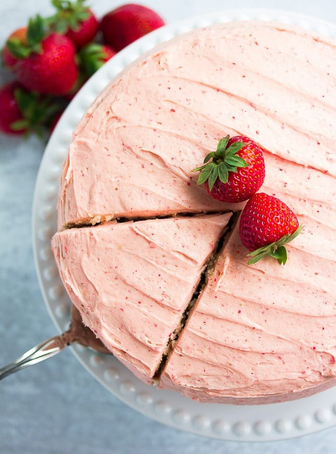 looking down on strawberry cake
