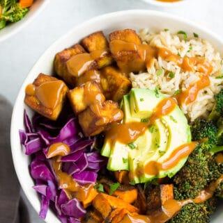close up of vegan buddha bowl