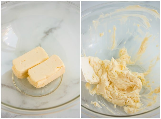 collage showing vegan butter sticks, then whipped butter in a bowl.