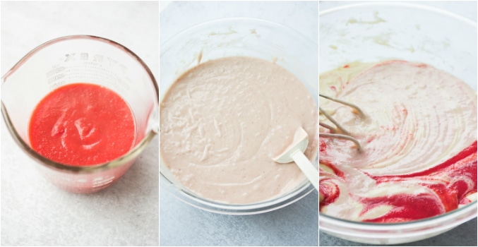 collage of how to make strawberry cake batter