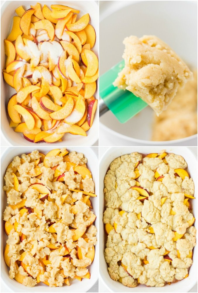 collage of how to put together vegan peach cobbler