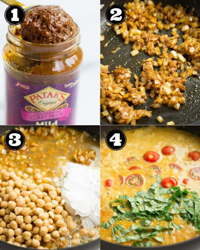 collage of how to make curry with chickpeas