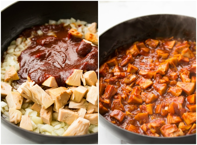 collage showing bbq sauce added to jackfruit and mixing it up