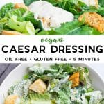 pinterest collage of vegan caesar dressing