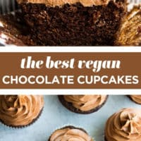 pinterest collage with text of chocolate cupcakes, vegan.