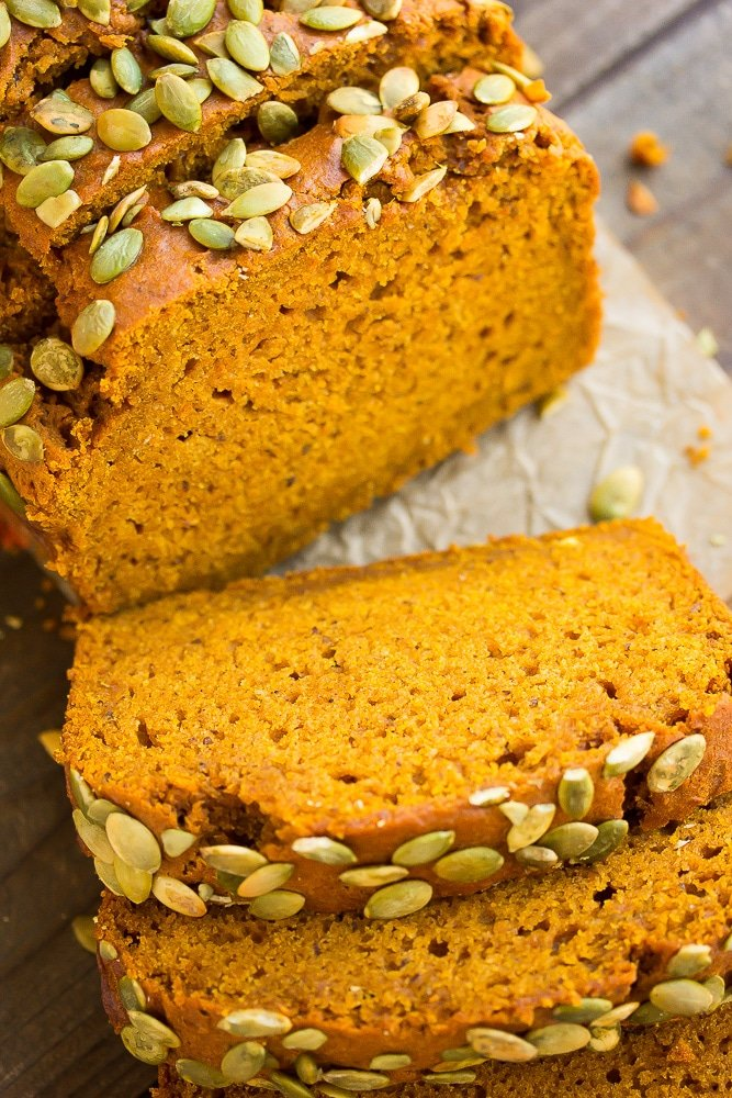looking down on sliced vegan pumpkin bread