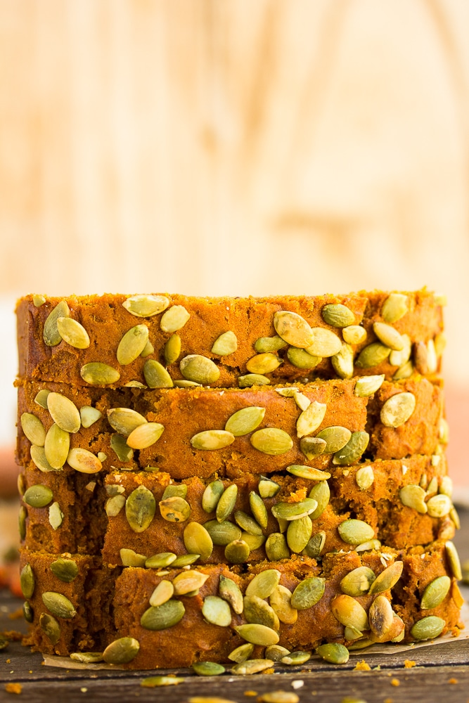 stack of sliced pumpkin bread