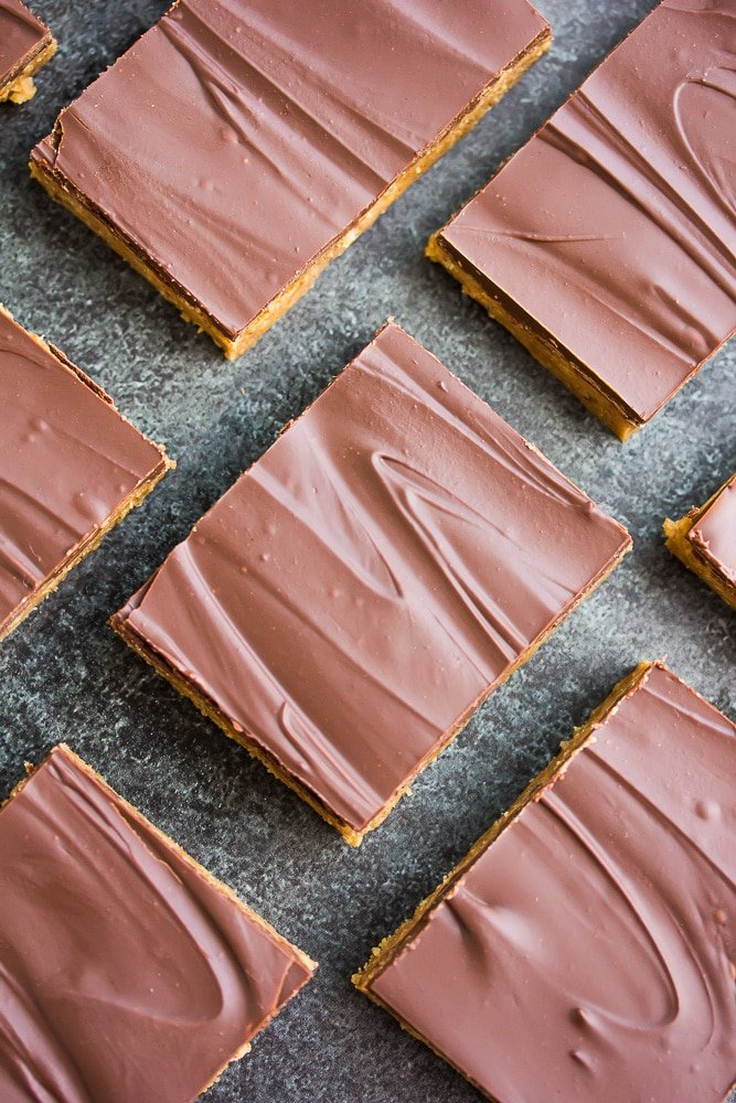 from the top shot of vegan chocolate peanut butter bars lined up