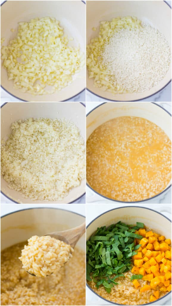 collage of the process of making vegan risotto